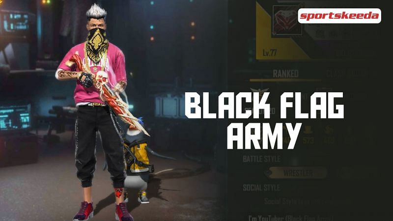 Black Flag Army's Free Fire ID, monthly earnings, annual income, YouTube subscribers, India rank, and more