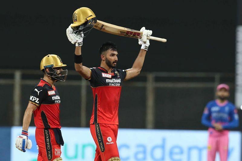 Devdutt Padikkal celebrates his hundred. Pic: IPLT20.COM