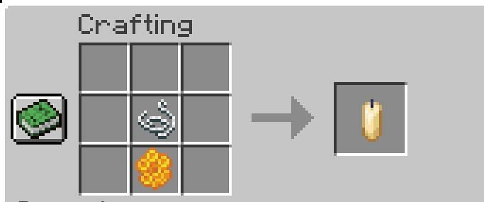 Shown: The crafting recipe needed to craft a candle in Minecraft (Image via Minecraft)