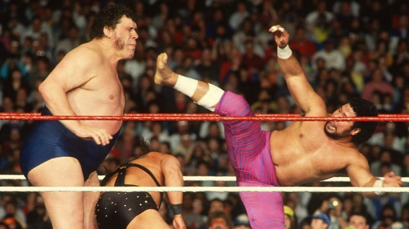 Haku (right) worked as Andre the Giant
