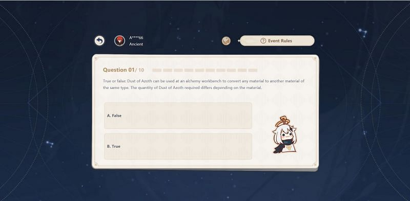 Answering a question in the quiz event (Image via Genshin Impact)