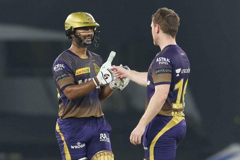 Rahul Tripathi and Eoin Morgan stitched together a 66-run partnership for KKR [P/C: iplt20.com]