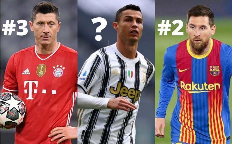 Robert Lewandowski, Cristiano Ronaldo and Lionel Messi