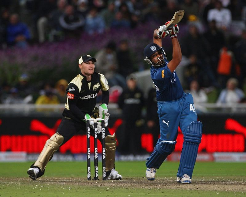 Rohit Sharma plays a shot against KKR