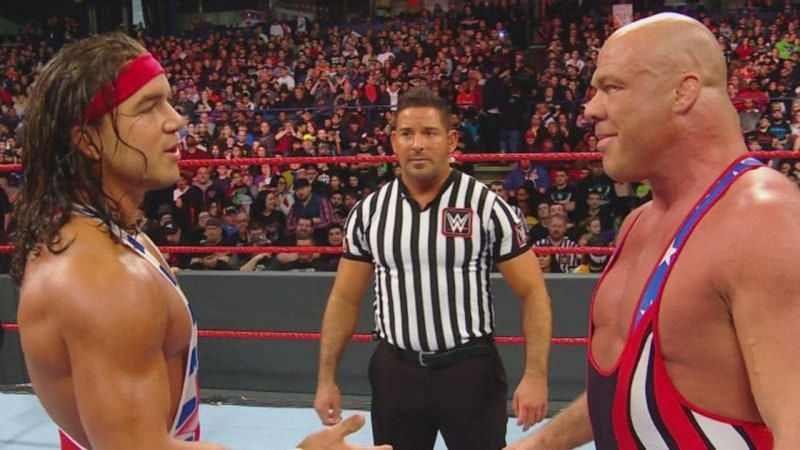 Chad Gable and Kurt Angle squared off before Angle retired (Credit: WWE)