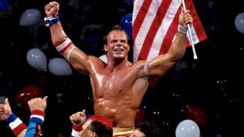 Lex Luger celebrated after his SummerSlam 1993 win over Yokozuna.