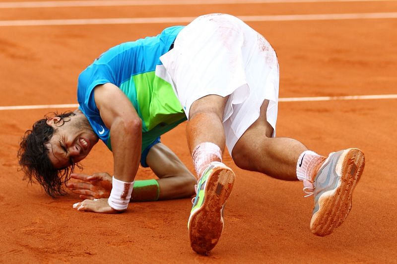 Rafael Nadal celebrates after winning the 2010 French Open