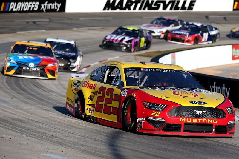 Joey Logano will start from pole at the Blu-Emu Maximum Pain Relief 500 at Martinsville. Photo by Brian Lawdermilk/Getty Images