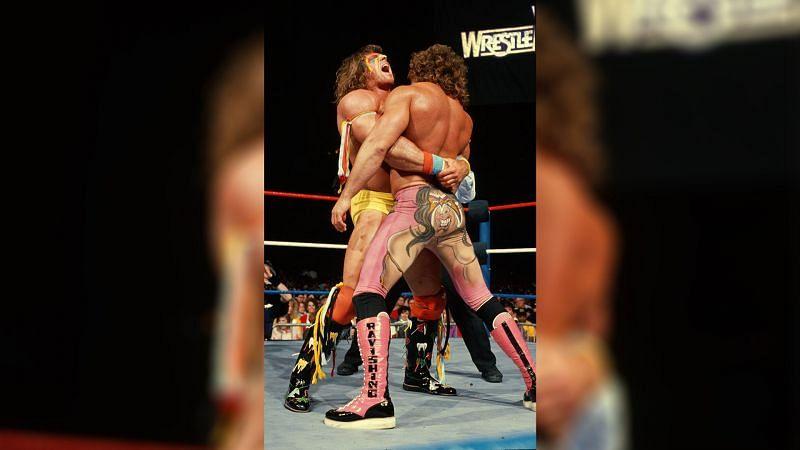 "The Ultimate Warrior squared off against ""Ravishing"" Rick Rude at WrestleMania V (Credit = WWE Network)"
