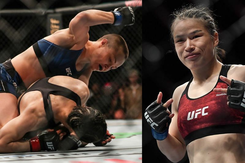 Zhang Weili (R) reacts to her UFC 261 loss