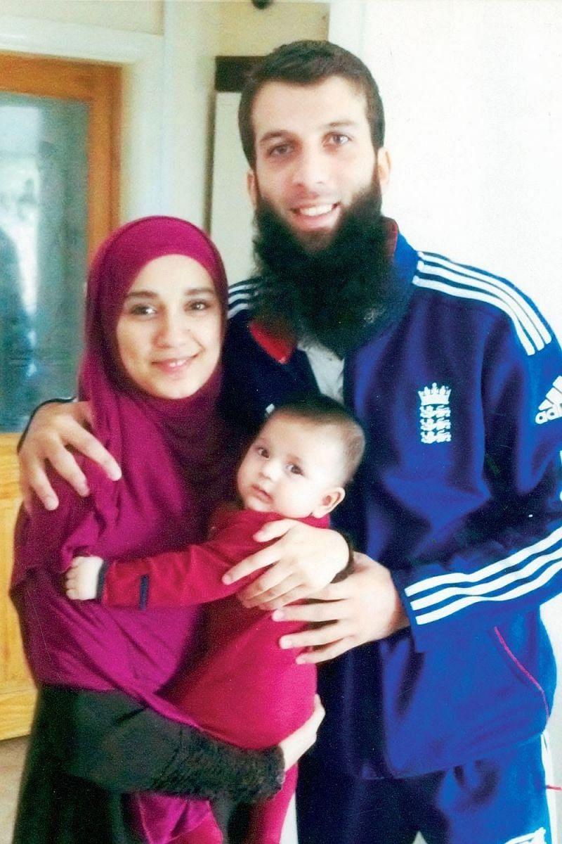 Moeen Ali with wife Firoza Hossain and child