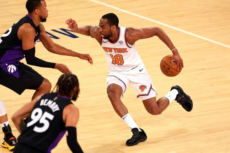 Alec Burks #18 of the New York Knicks in action against the Toronto Raptors