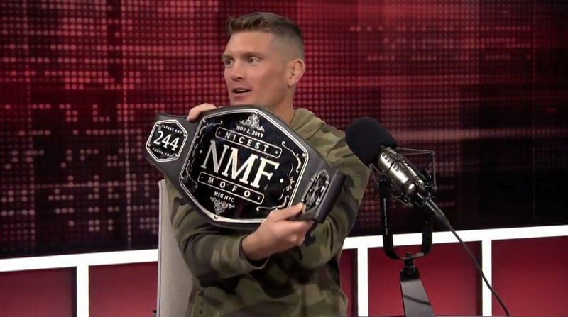Stephen Thompson with the NMF belt at the Ariel Helwani Show