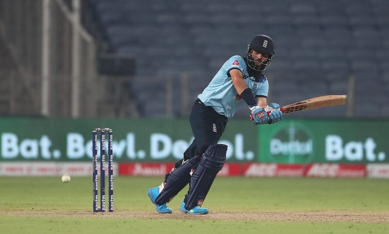 Moeen plays one into the legside in the third ODI against India.