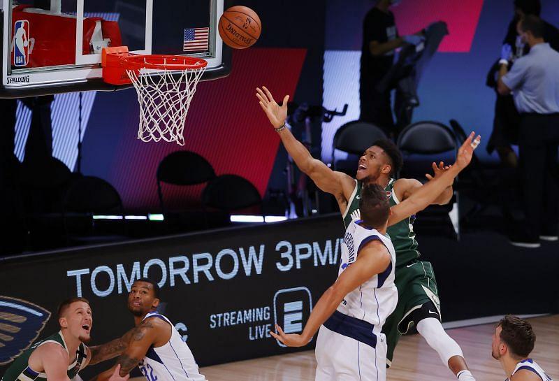 Giannis Antetokounmpo of the Milwaukee Bucks in NBA action against the Dallas Mavericks