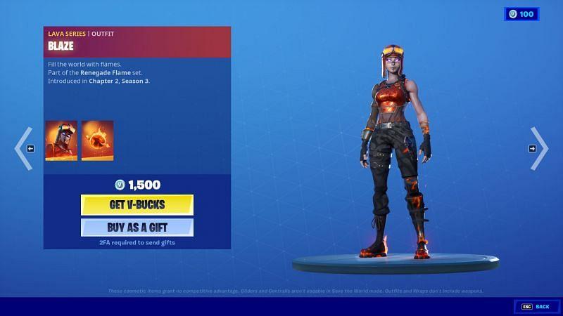 Blaze can be purchased in-game for 1,500 V-Bucks (Image via Fortnite, Epic Games)