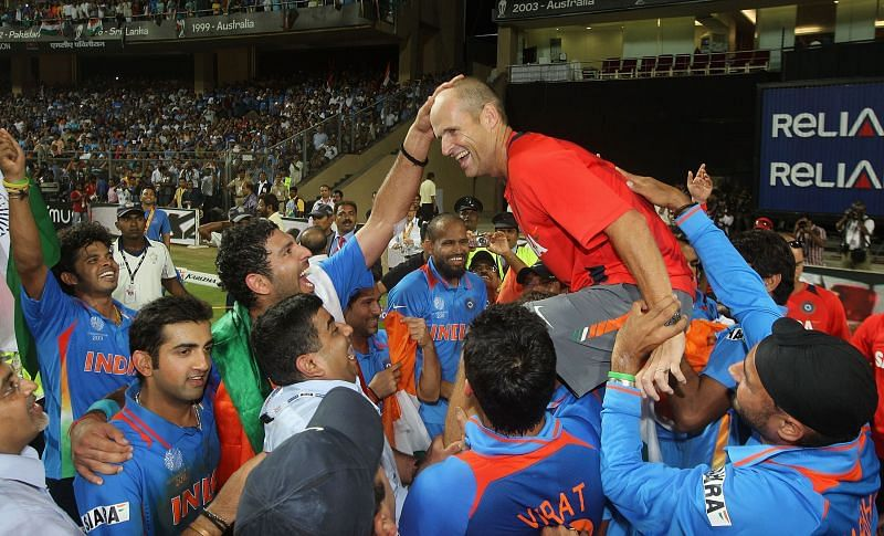Gary Kirsten celebrates after winning the 2011 World Cup with India