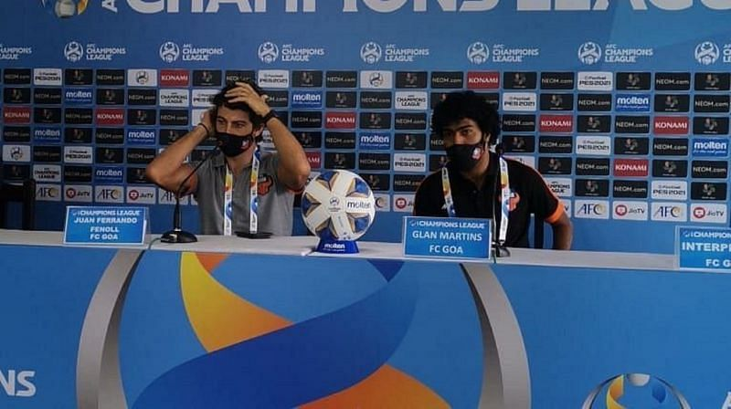 Juan Ferrando and Glan Martins interact with the press ahead of the Al Wahda tie. (Image: AFC)