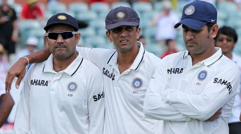 Virender Sehwag, Rahul Dravid, and MS Dhoni (Photo: BCCI)
