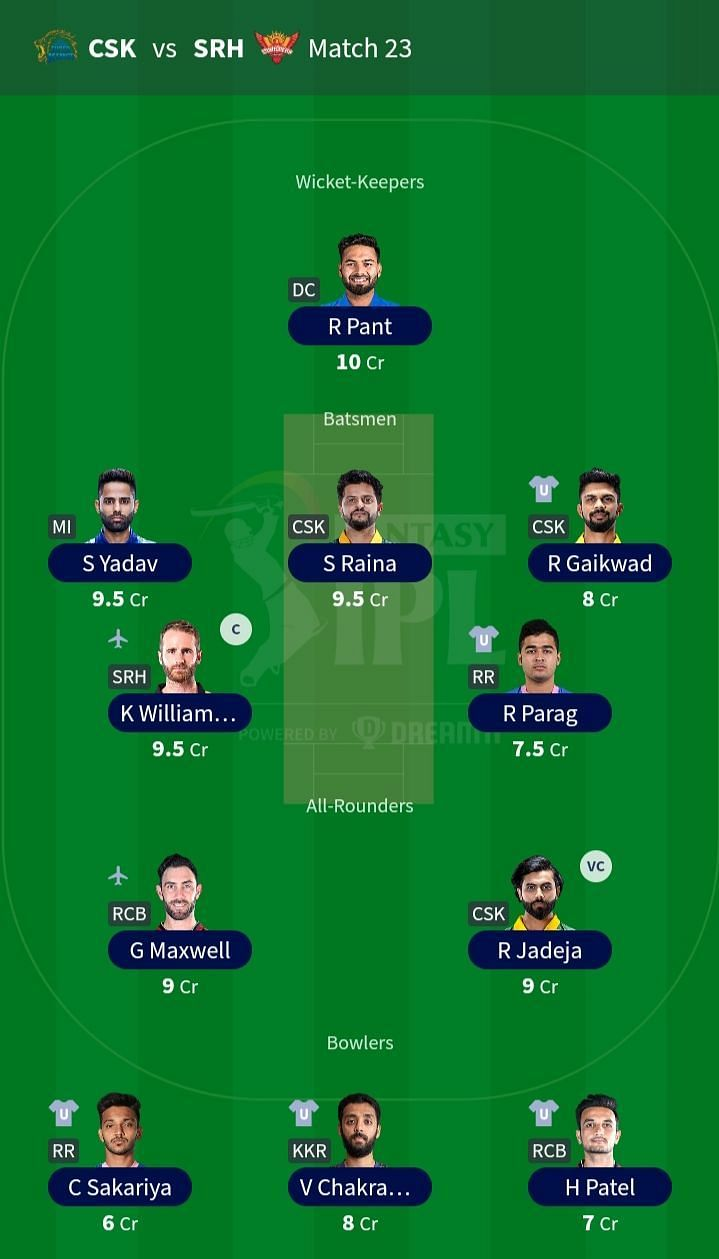 Suggested Team for IPL 2021 Match 23 - CSK vs SRH.