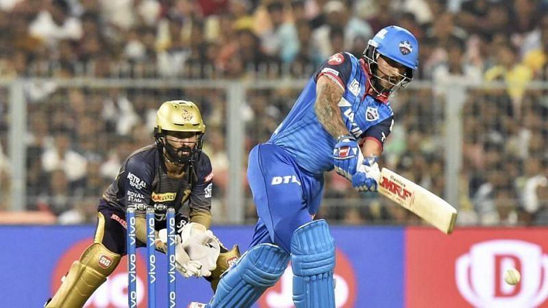 Shikhar Dhawan batting against KKR in the IPL (Picture credits: kcricketscore.com)