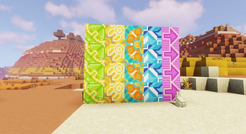 Shown: Various types of Glazed Terracotta (Image via Minecraft) Enter caption