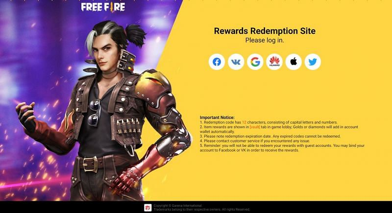 Official Reward Redemption Site of Free Fire