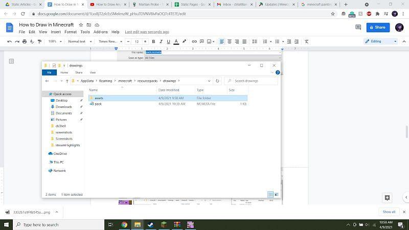Next, alongside that pack.mcmeta file, create a new folder called 'assets'.
