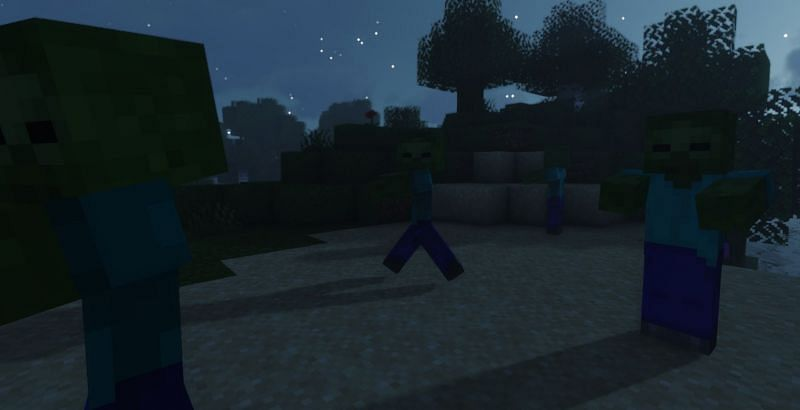 A leader zombie spawns with an added 50%-70% chance of spawning reinforcements (Image via Minecraft)