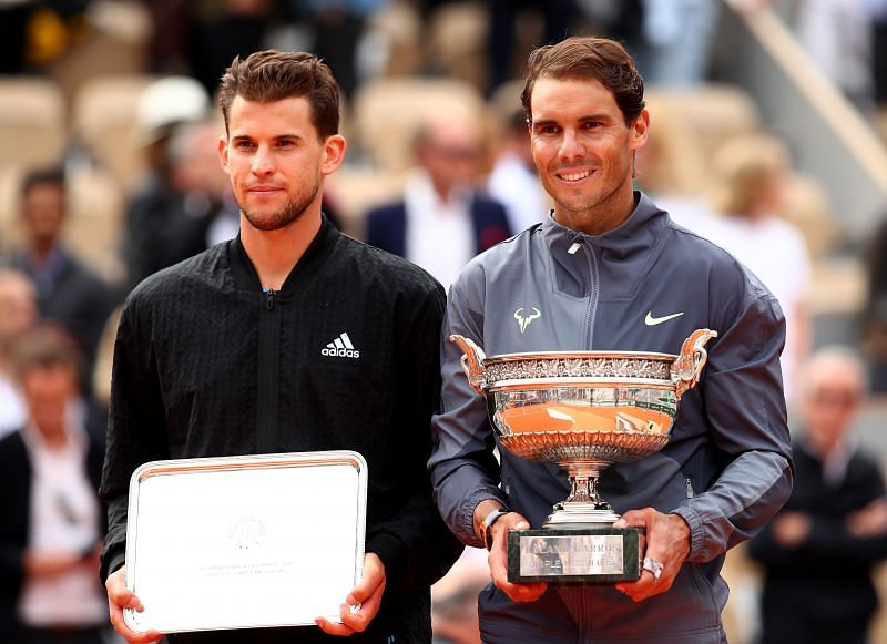 Dominic Thiem (L) and Rafael Nadal at the 2019 French Open