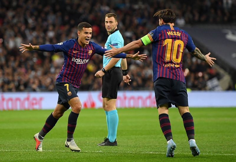 Philippe Coutinho and Lionel Messi