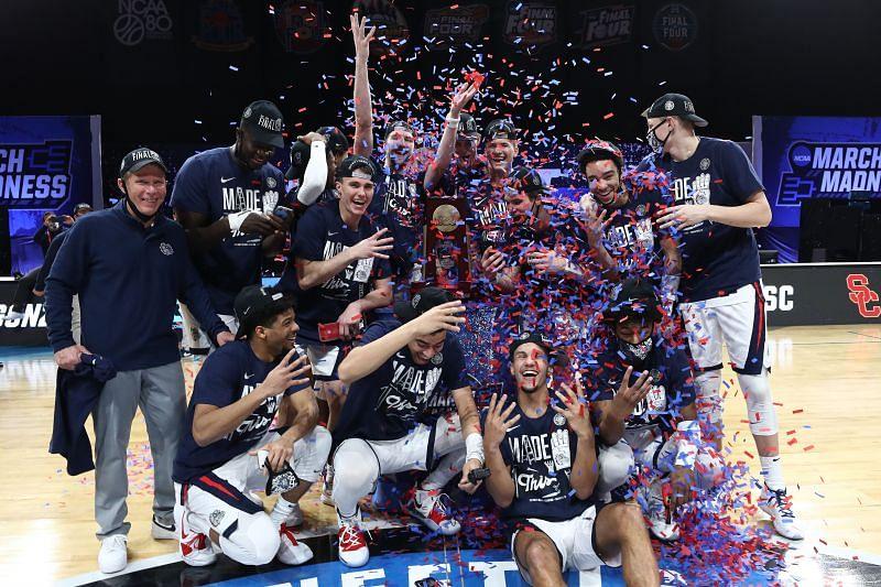 The Gonzaga Bulldogs celebrate their Elite Eight victory.