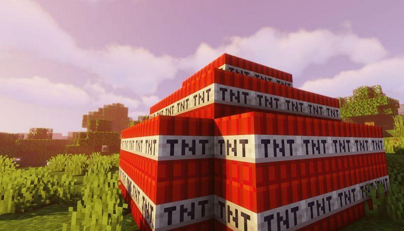 Shown: A stockpile of TNT (Image via Minecraft) Enter caption