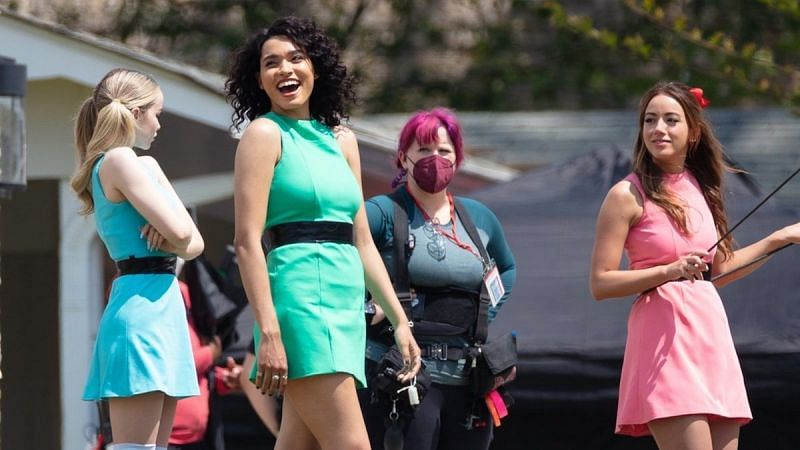Pictures from the set of the Powerpuff girls live-action adaptation (Image via TMZ)