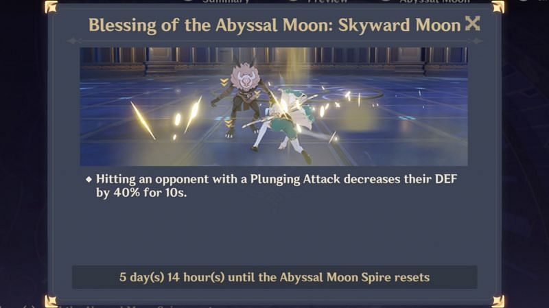 Current Spiral Abyss blessing (buff)
