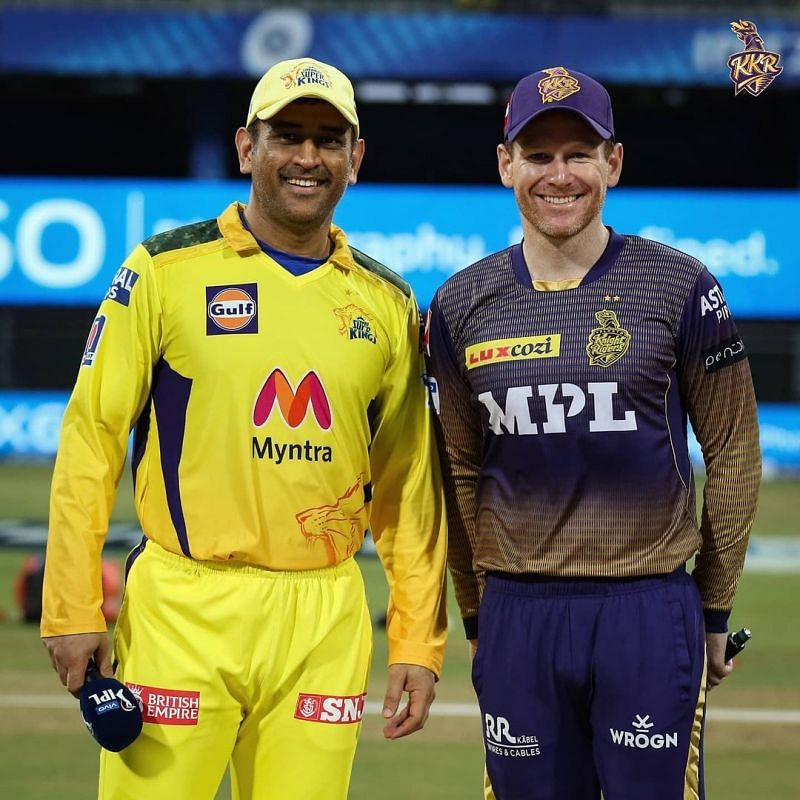 MS Dhoni and Eoin Morgan (R) (PC: kkriders/instagram)
