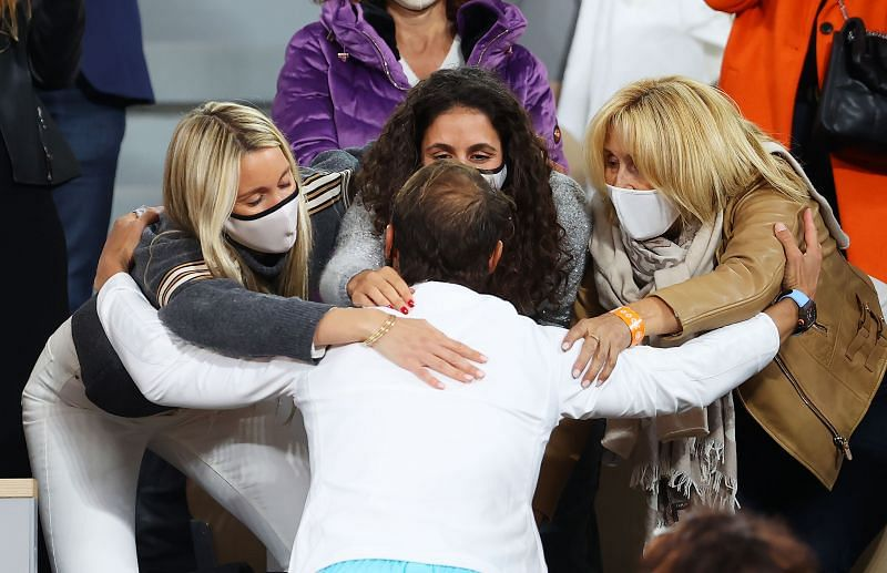 Rafael Nadal embraces his family after winning the 2020 French Open