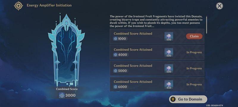 Twisted Realm rewards (image via Genshin Impact)