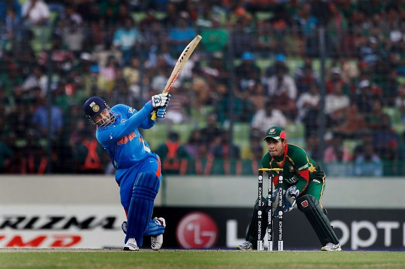 Virender Sehwag was in the mood in the 2011 World Cup opener against Bangladesh