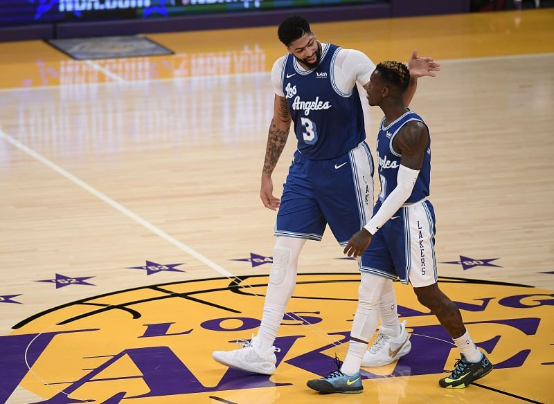 Anthony Davis and Dennis Schroder with the LA Lakers.