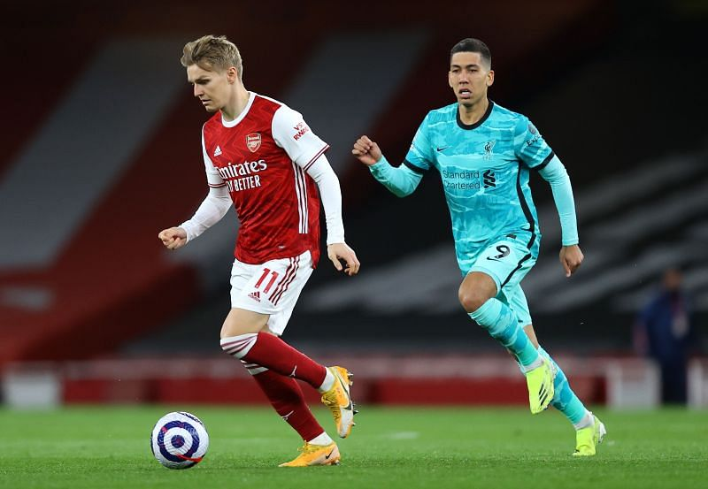 Martin Odegaard in Premier League action for Arsenal