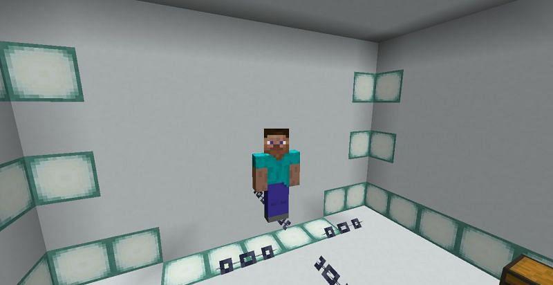 Walking on chains (Image via Minecraft)