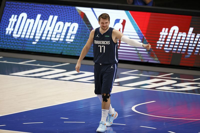 Luka Doncic #77 takes the court against the Philadelphia 76ers