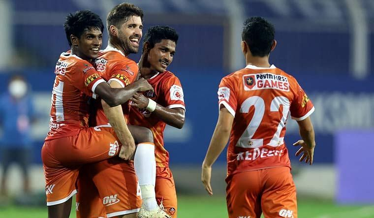 FC Goa players are pumped up after finding the net
