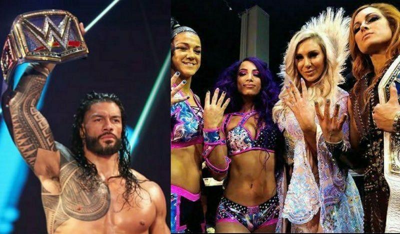 Roman Reigns; Bayley, Sasha Banks, Charlotte Flair, and Becky Lynch