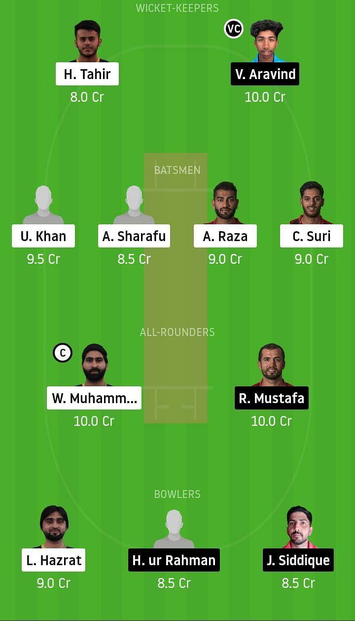 Dream11 Team Prediction for FUJ vs SHA - Emirates D10 League