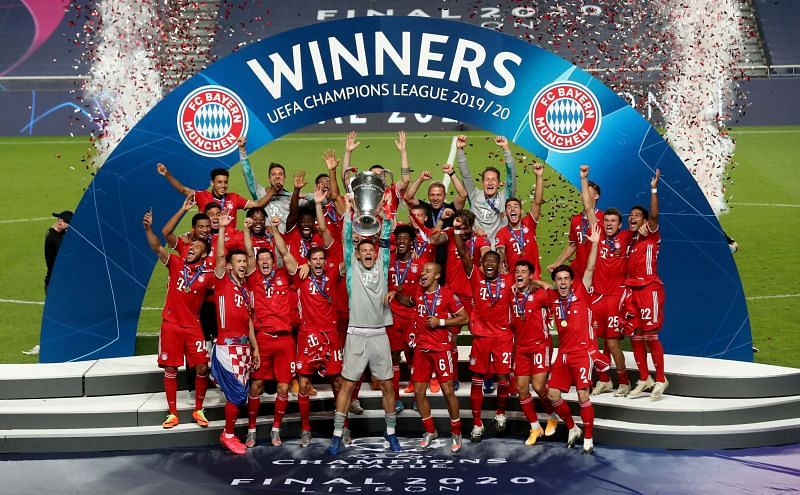 Bayern Munich celebrate their UEFA Champions League success last year