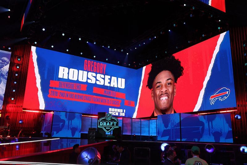 NFL Commissioner Roger Goodell announces Gregory Rousseau as the 30th overall selection by the Buffalo Bills during the 2021 NFL Draft on April 29, 2021, in Cleveland, Ohio.