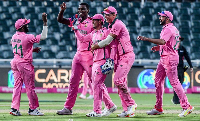 South African fielders celebrate Fakhar Zaman