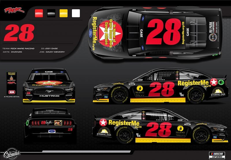 Davey Allison tribute car. Graphic provided by Rick Ware Racing.